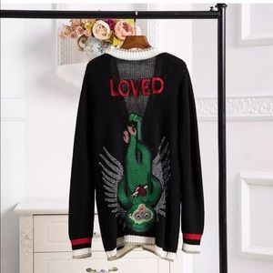 Cardigan Black Long Knitted Sweater Women